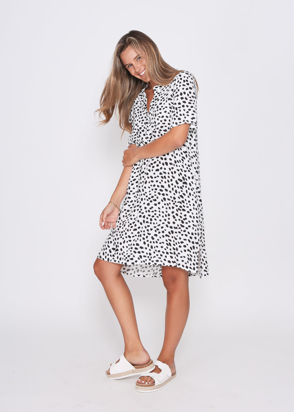 NEW - JEAN DRESS - WHITE/BLACK LEOPARD