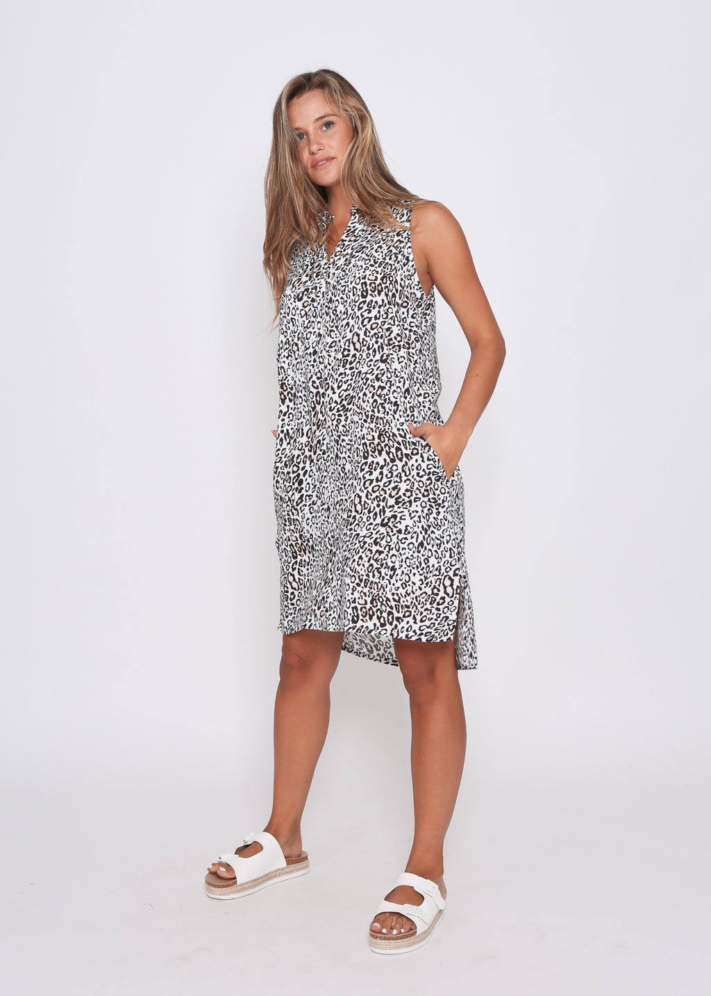 NEW - MIA SLEEVE-LESS DRESS - LEOPARD PRINT