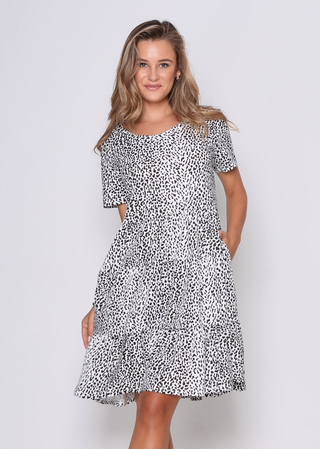 JUST IN - BRONDA DRESS - WHITE LEOPARD