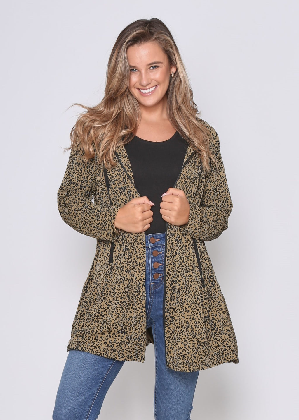 CARLIN COAT - KHAKI LEOPARD