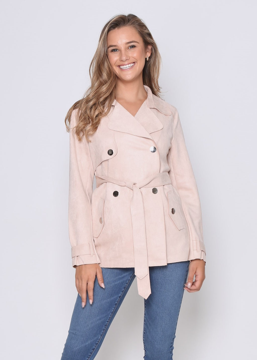 LORA CROPPED TRENCH COAT - NUDE