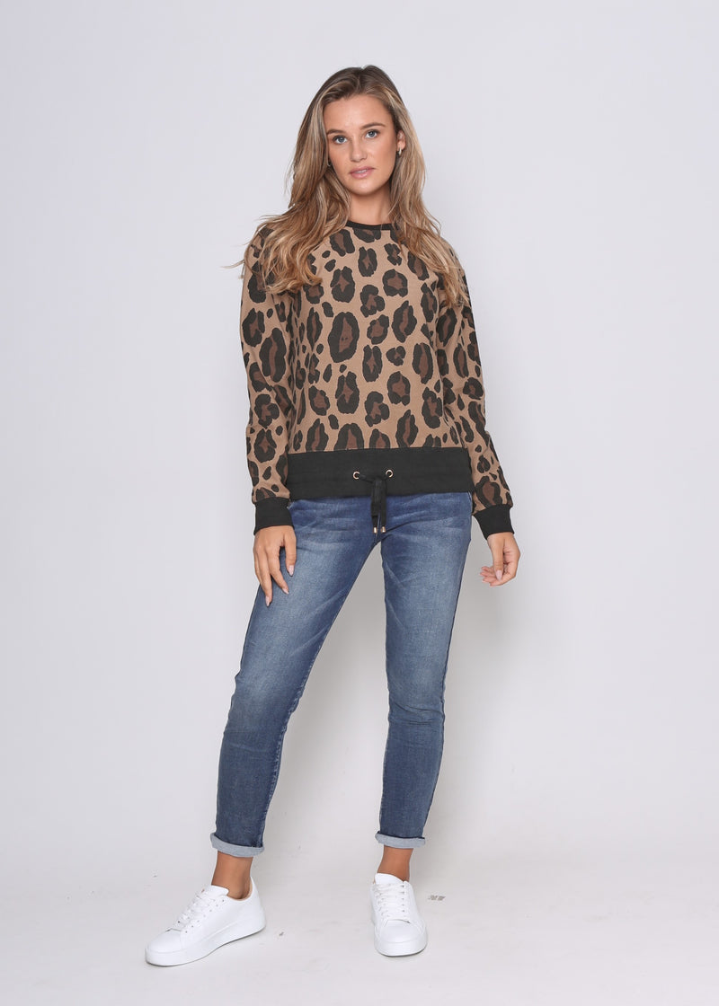 TEGAN SWEATER - TAN LEOPARD