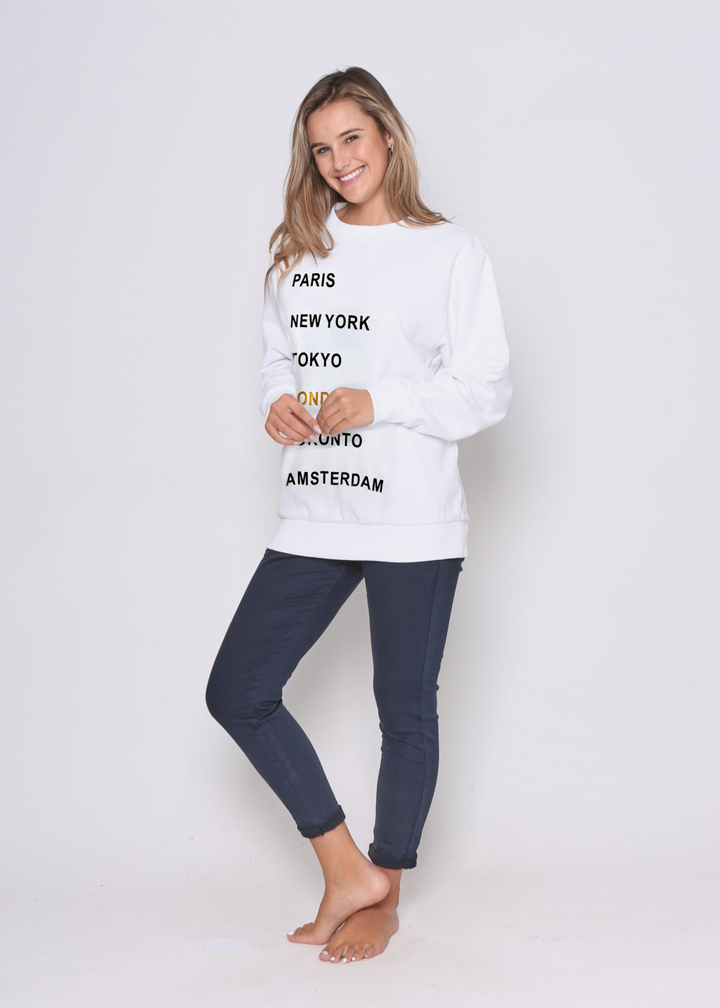 JUST IN - CITIES SWEAT - WHITE COMBO