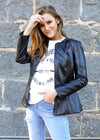 KHLOE PU LEATHER JACKET - BLACK