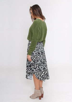 LORA SKIRT - GREY LEOPARD