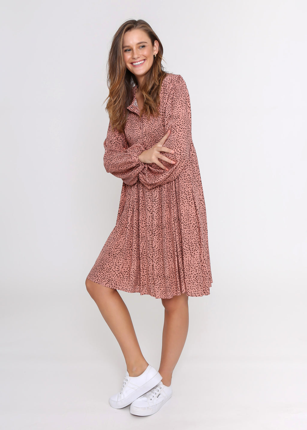 MASON DRESS - BLUSH LEOPARD
