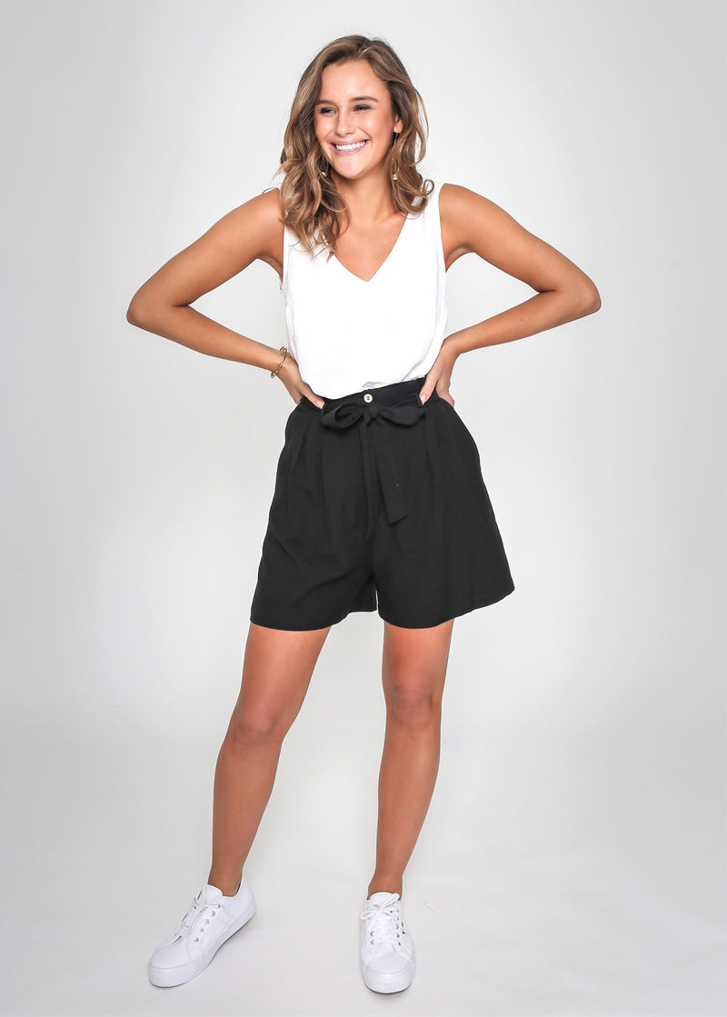 PAPER-BAG SHORTS - BLACK
