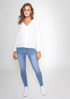 PHILLIPA FRILL BLOUSE - WHITE