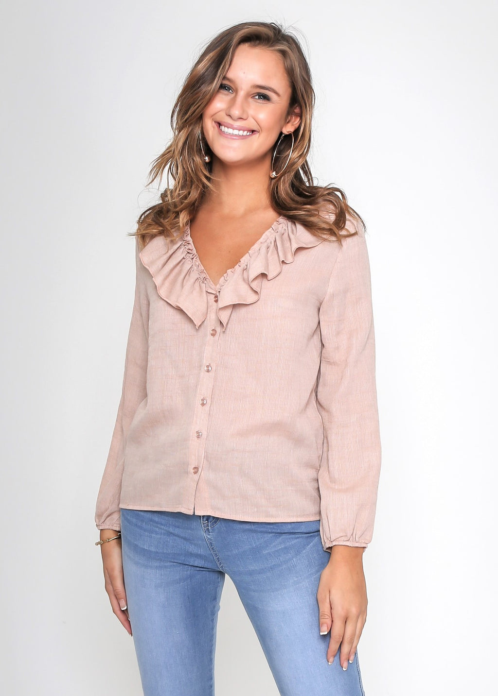 PHILLIPA FRILL BLOUSE - BLUSH