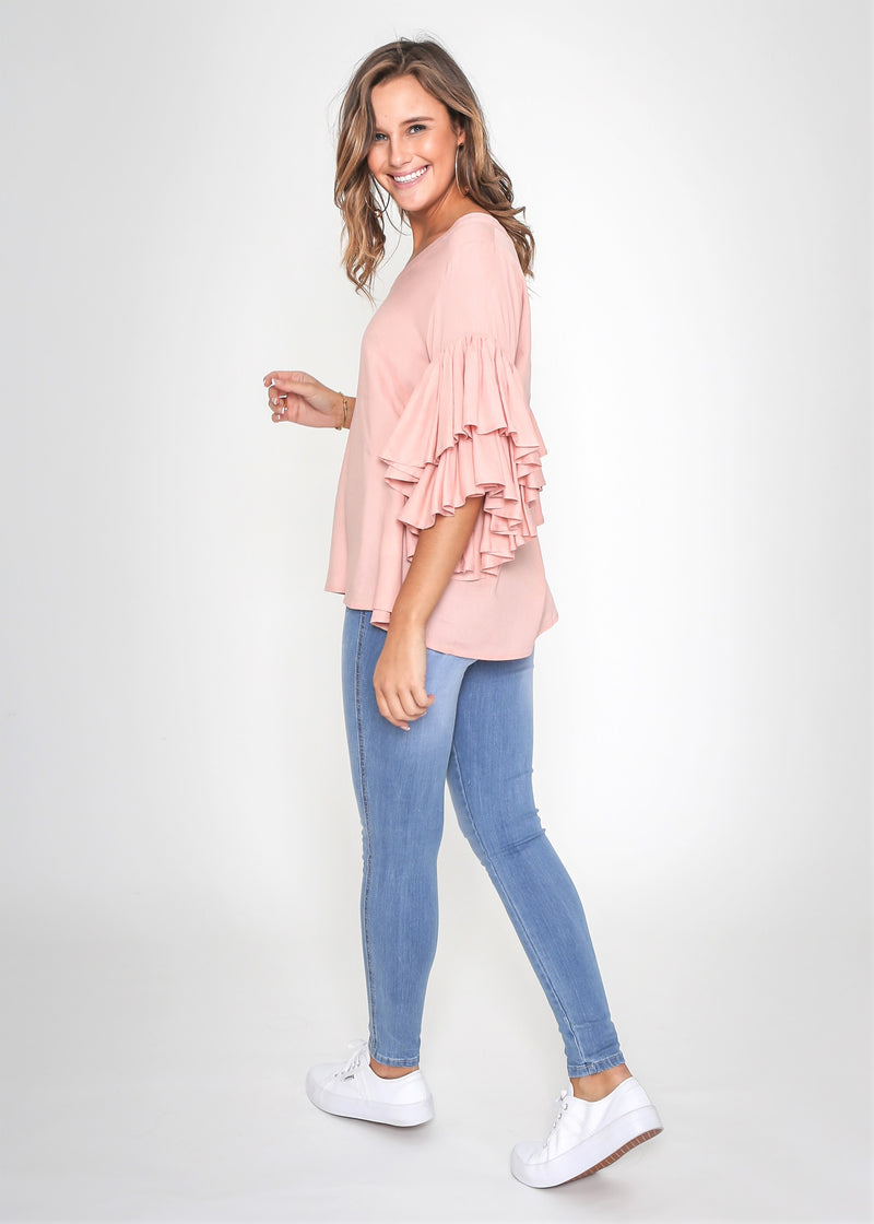 SHELBY FRILL SLEEVE TOP - ROSE