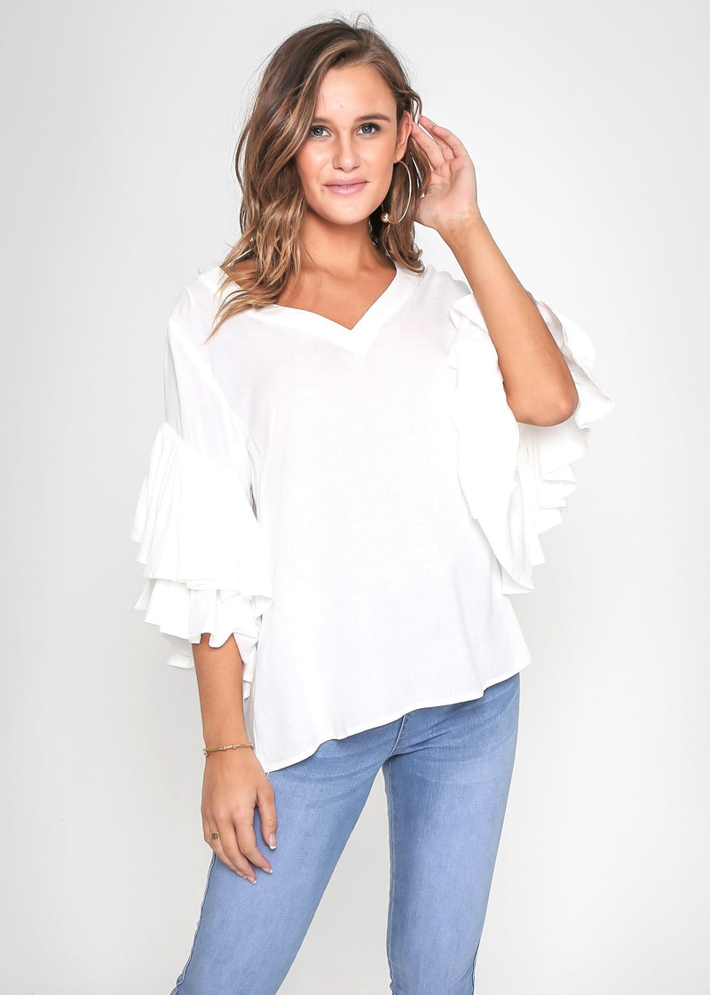 SHELBY FRILL SLEEVE TOP - WHITE
