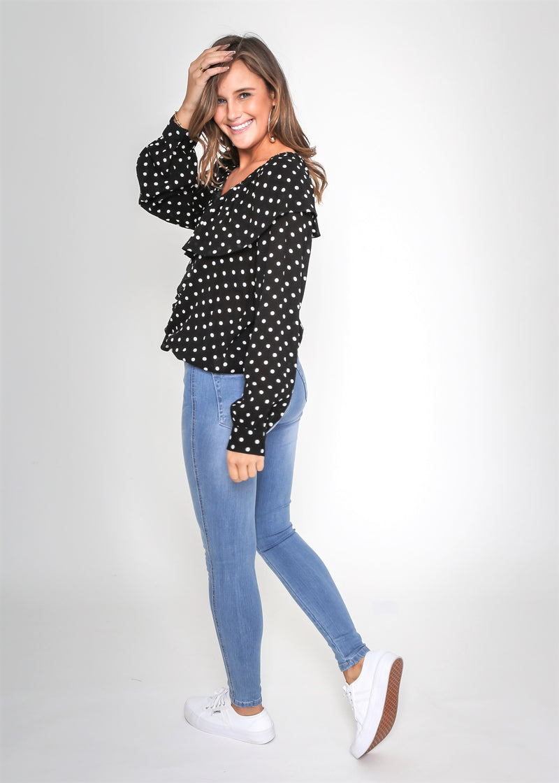 DAISY DOT BLOUSE - BLACK