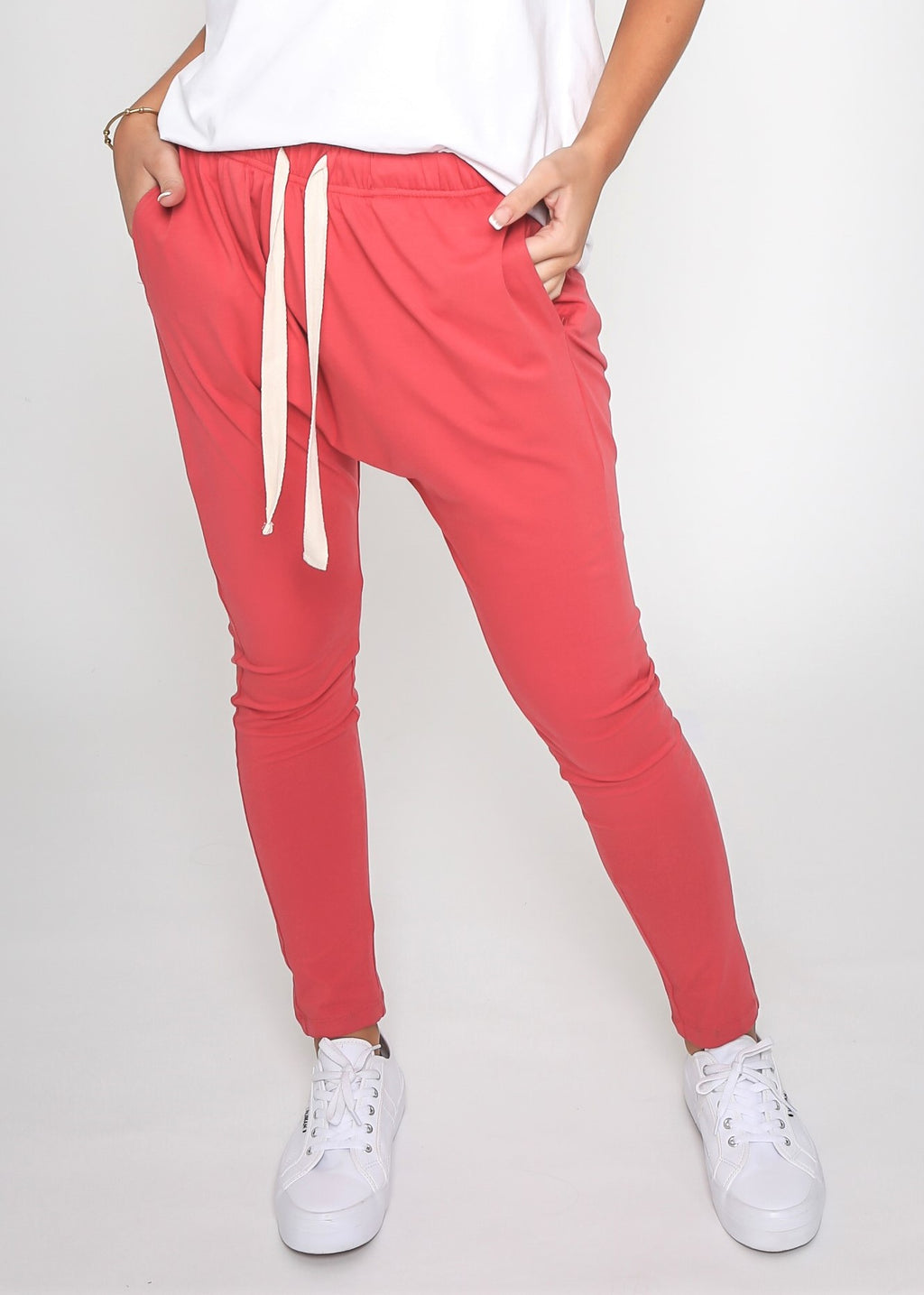 KIERA DROP CROTCH JOGGER - RED