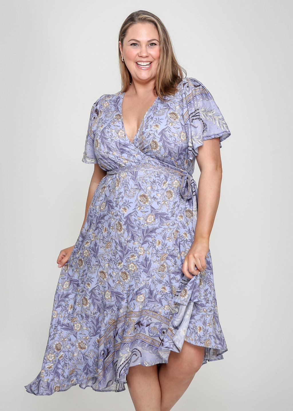 BAILEY WRAP DRESS - PURPLE PRINT