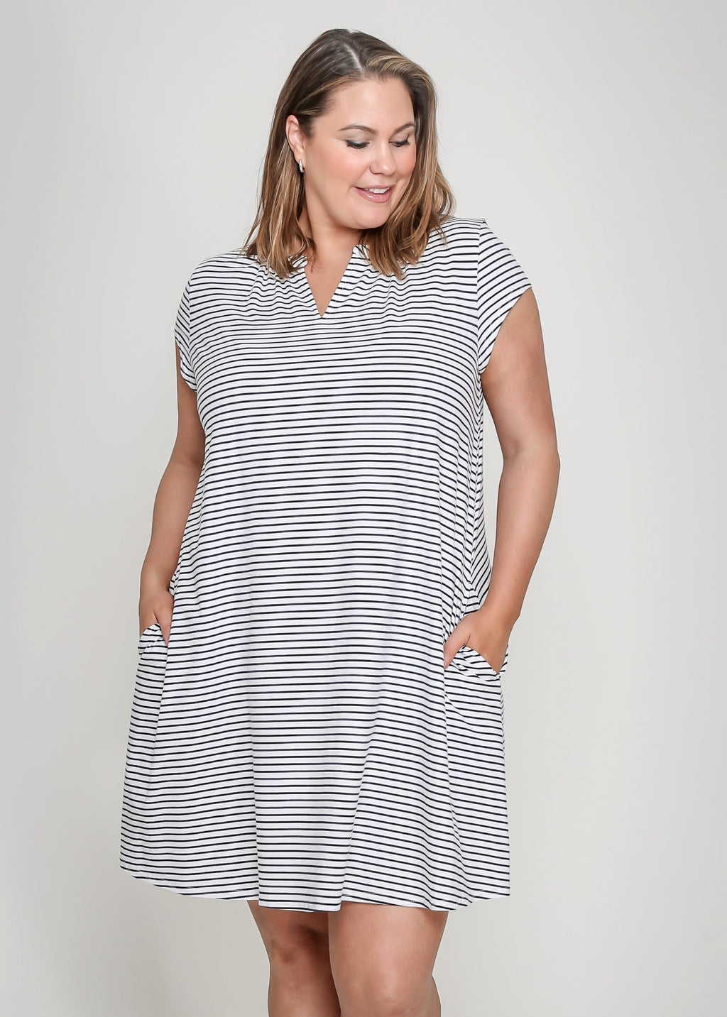 NELA DRESS - WHITE STRIPE