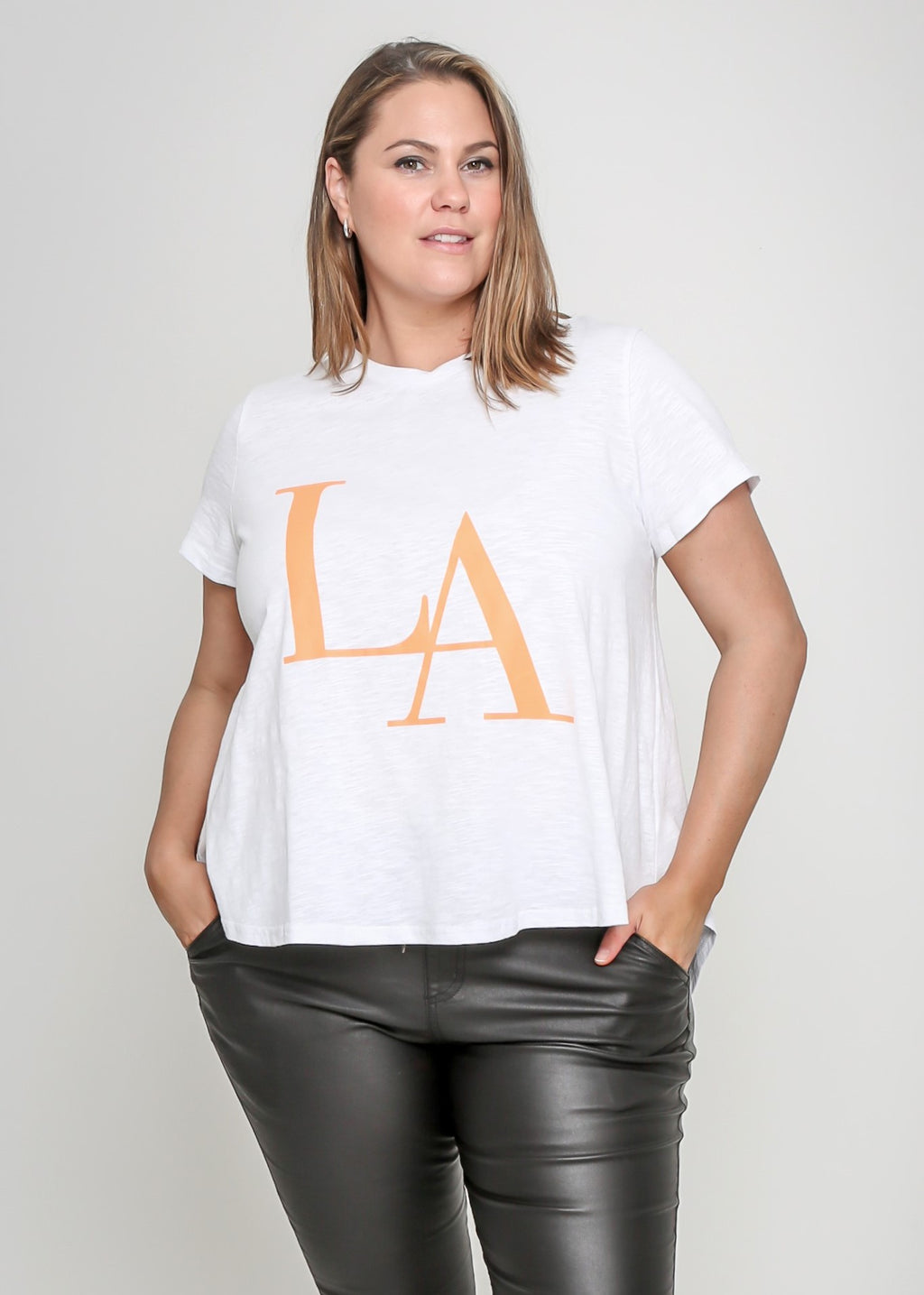 LARA TEE - ORANGE/WHITE - MARK DOWN MADNESS