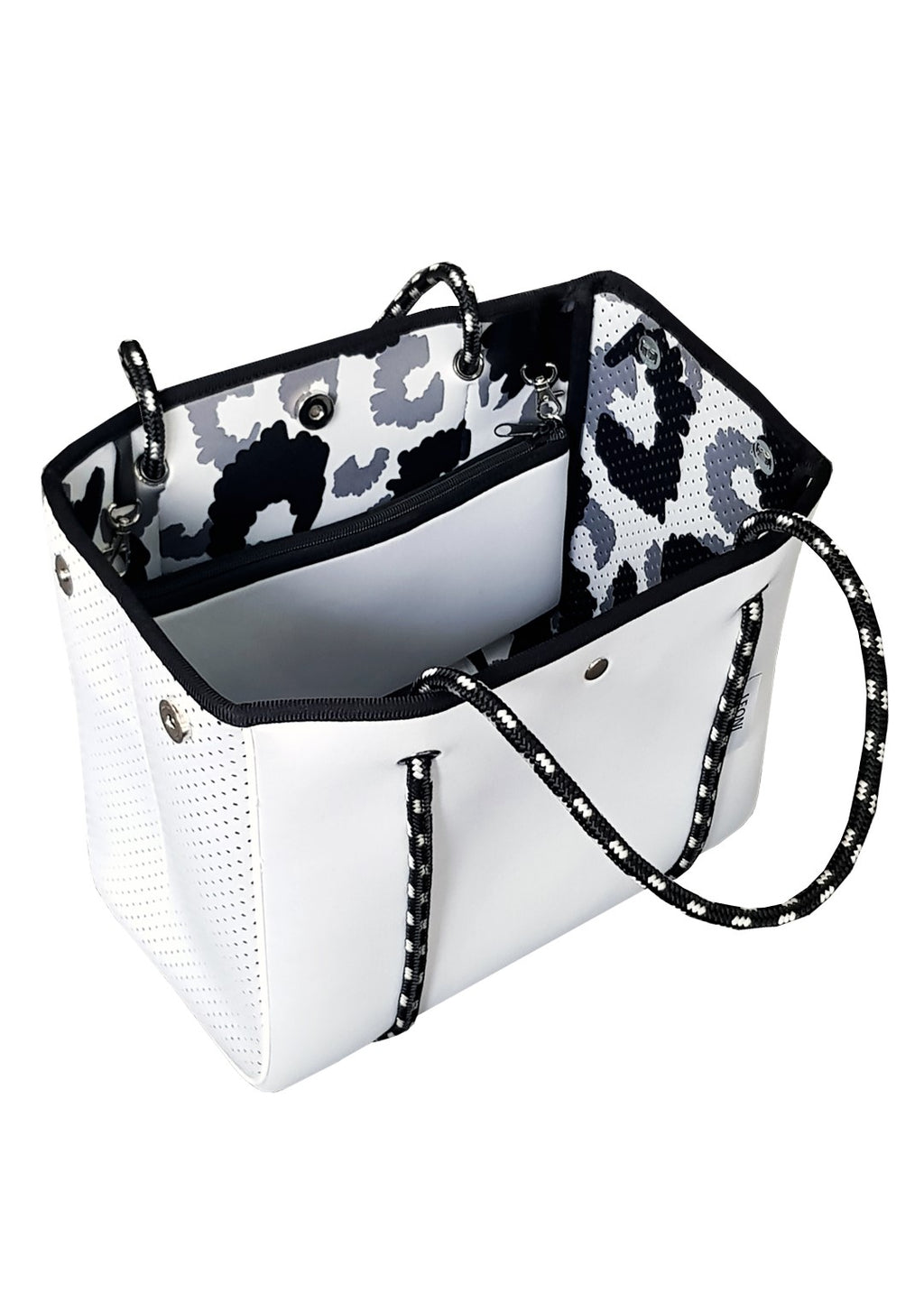 AVA REVERSIBLE MINI NEOPRENE BAG - WHITE/LEOPARD