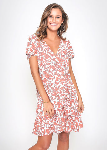 TIFFANY DRESS - PEACH FLORAL PRINT