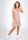 ROSA WRAP DRESS - PEACH FLORAL