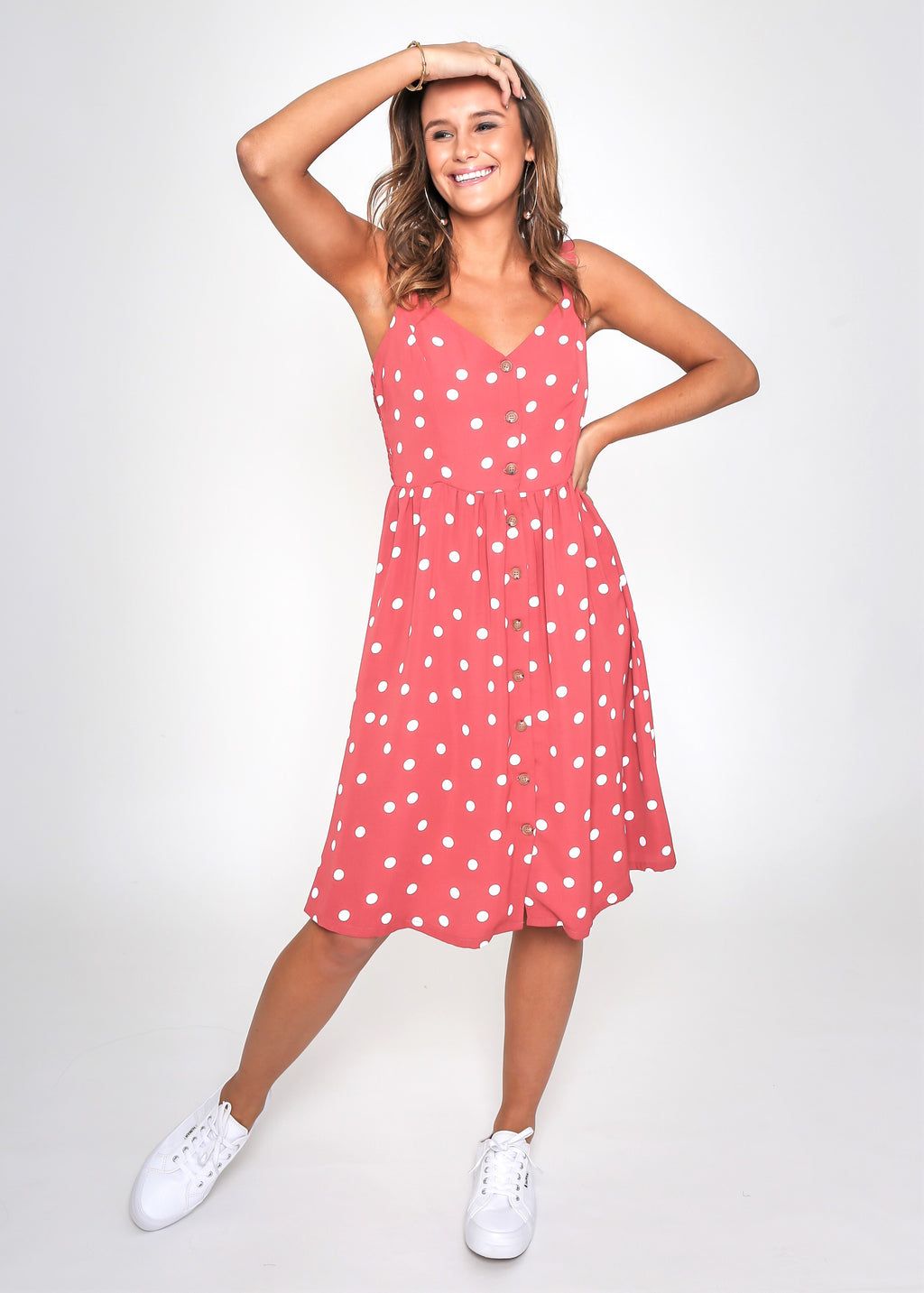 LOLA DRESS - RED SPOT - MARK DOWN MADNESS