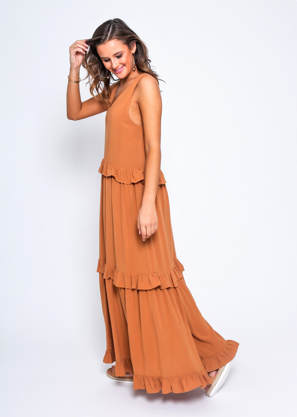 MAYA MAXI DRESS - AMBER - MARK DOWN MADNESS