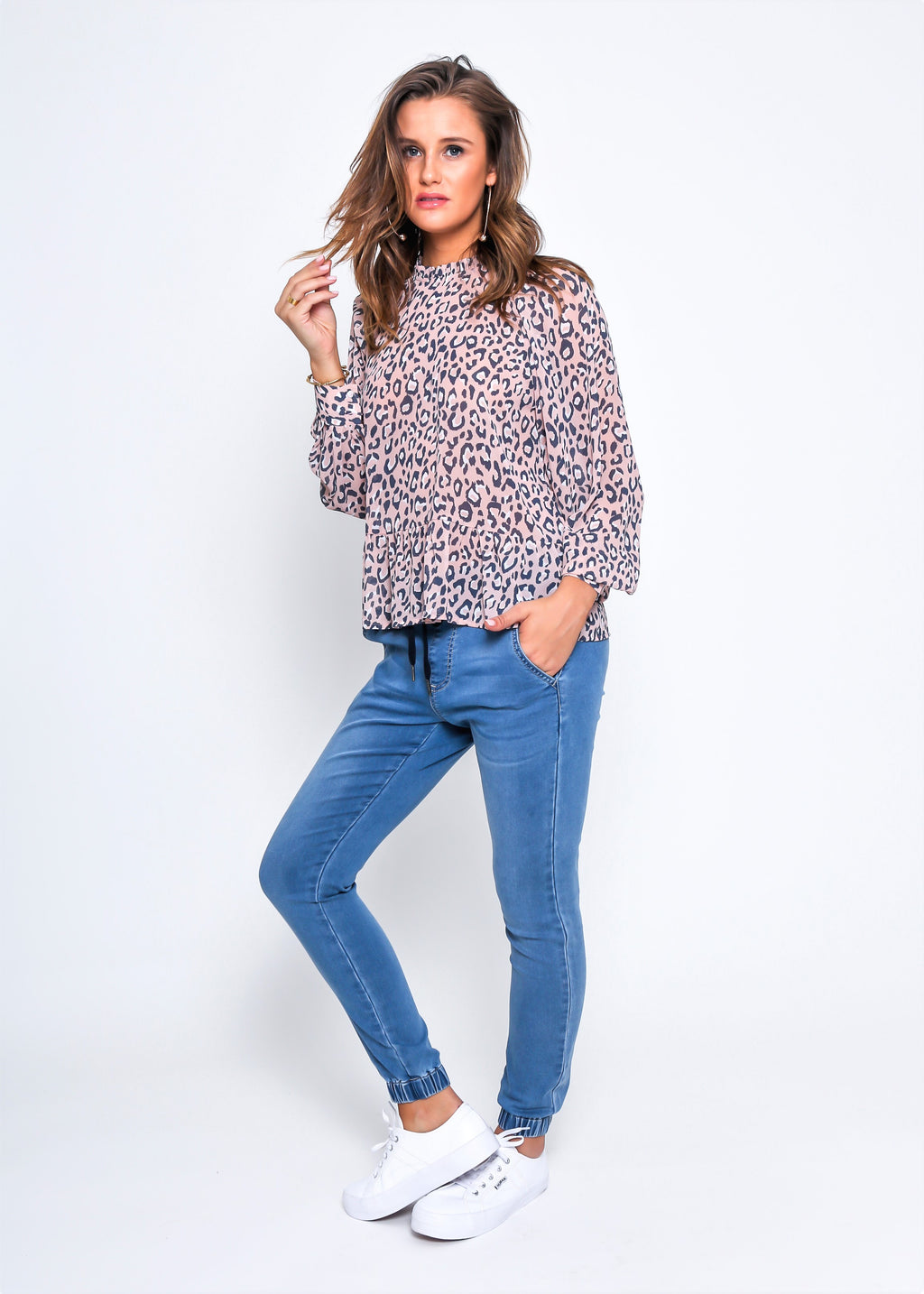 FAITH TOP - BLUSH LEOPARD