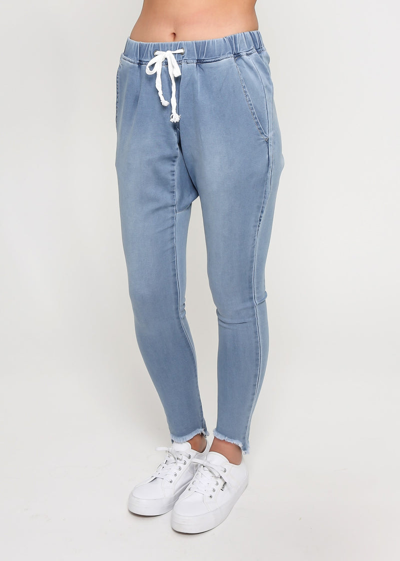 LILY DENIM JOGGER - BLUE WASH