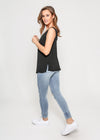 V NECK CAMI - BLACK