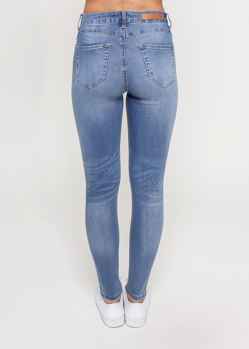 KYLIE RIPPED SKINNY JEAN - BLUE WASH