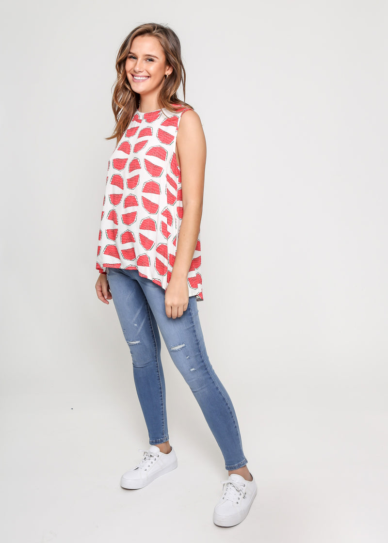 WATERMELON SLEEVE-LESS TOP - WHITE