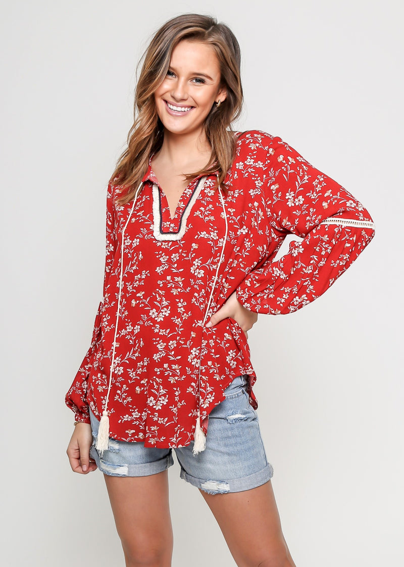 BOHO TASSEL TOP - RUST
