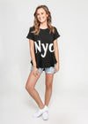 SASHA NYC SEQUIN TEE - BLACK