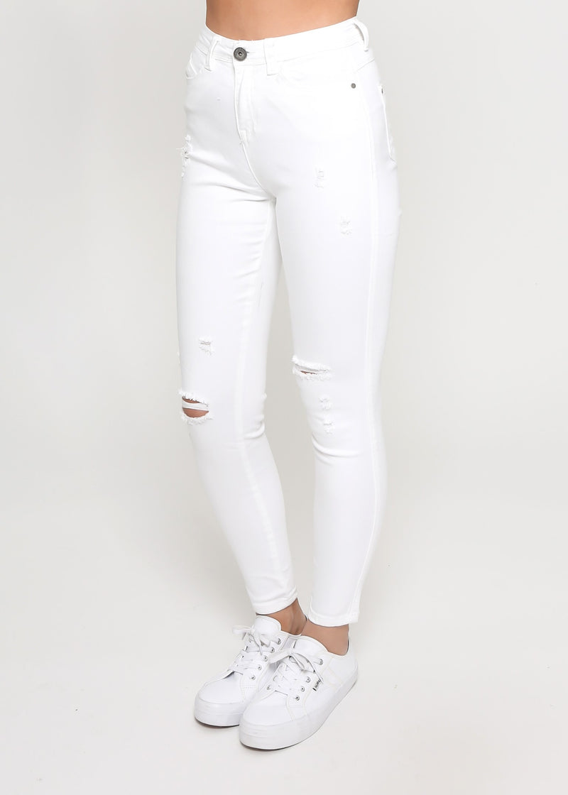 KYLIE RIPPED SKINNY JEAN -  WHITE