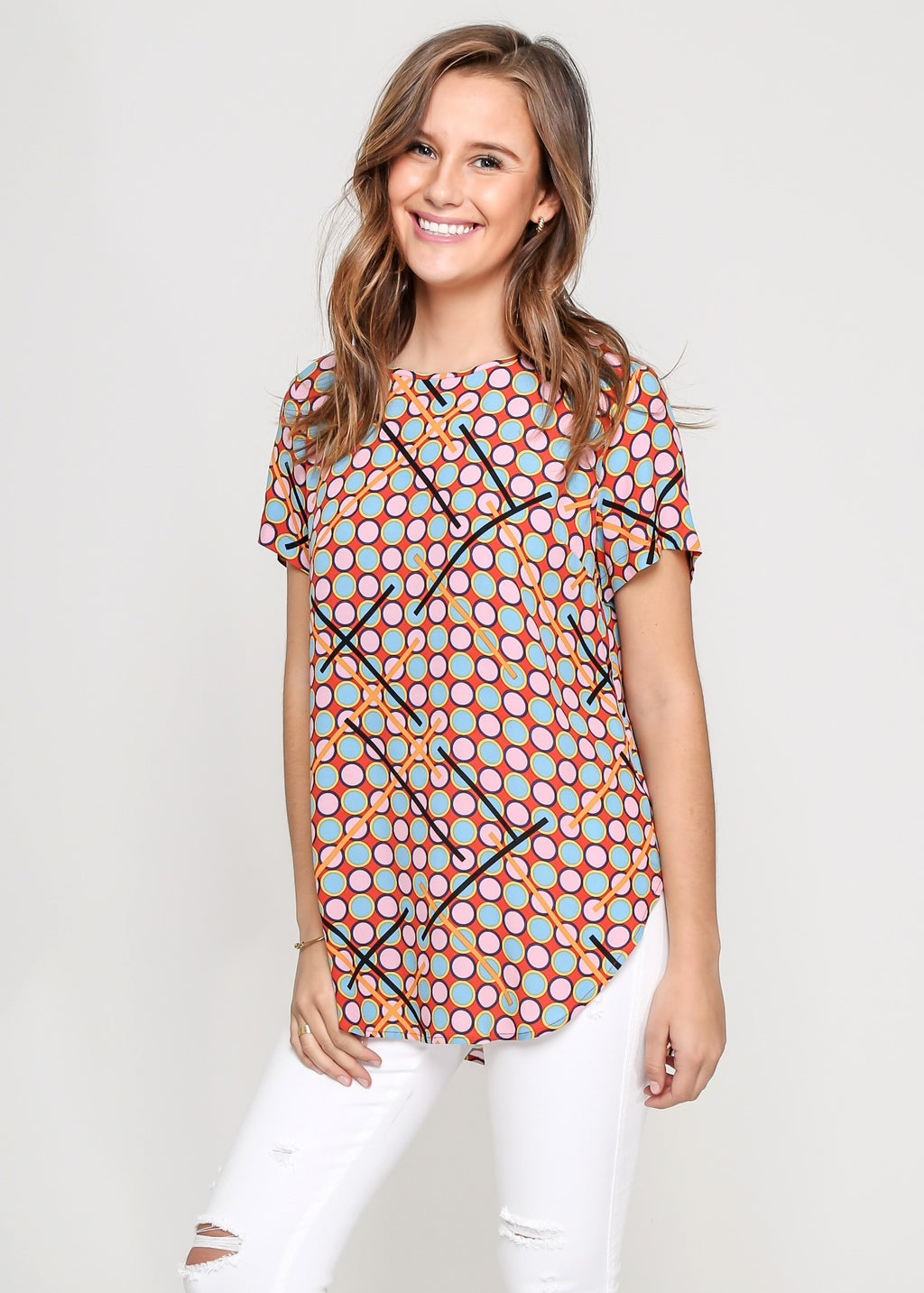 KHLOE TOP - 60'S MIX PRINT