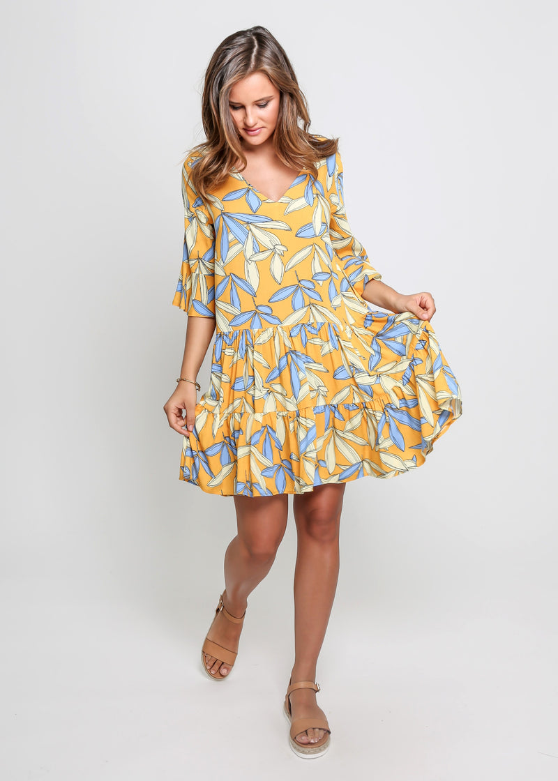 BYRON DRESS - YELLOW LEAF