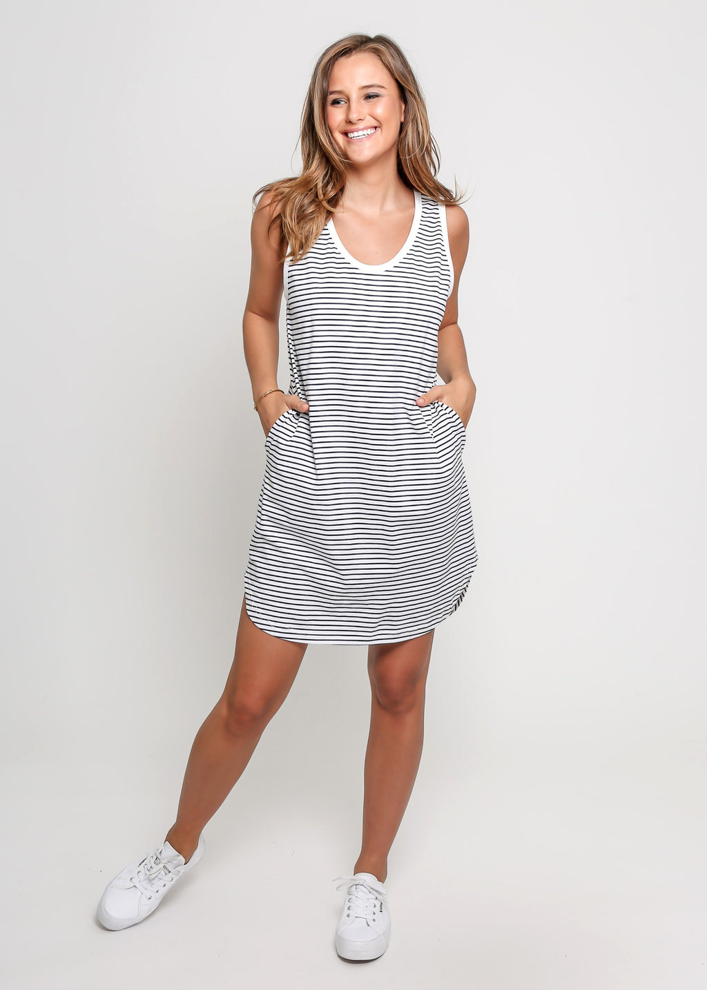 TONI DRESS - WHITE STRIPE