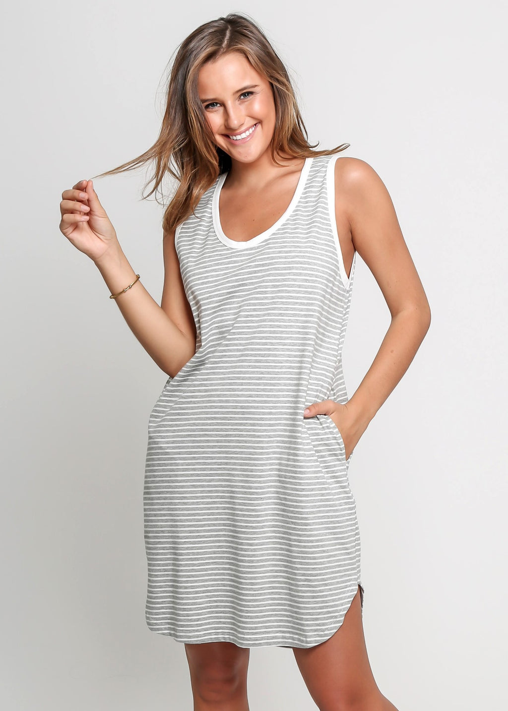 TONI DRESS - GREY STRIPE