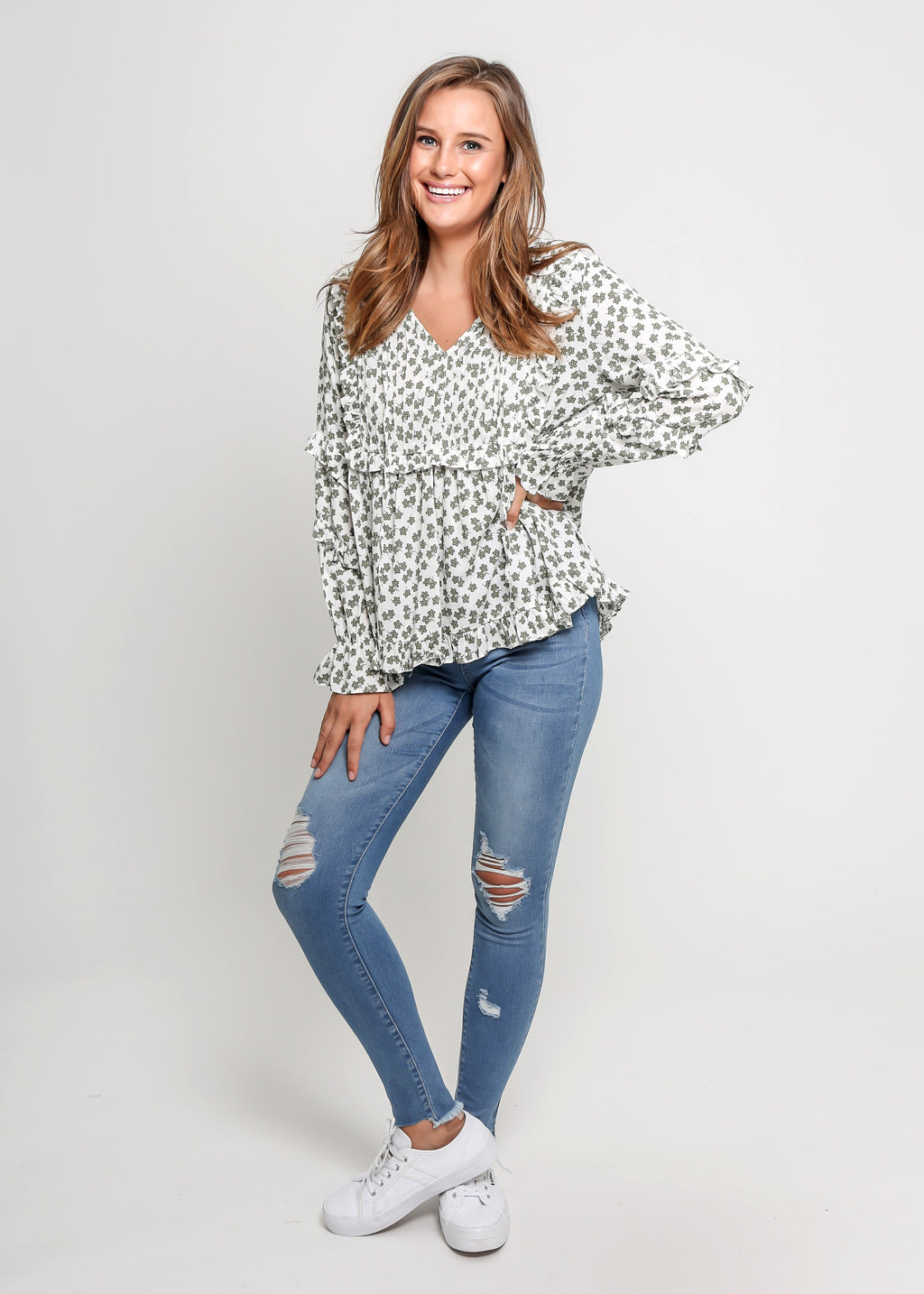 TIA TOP - GREEN FLORAL