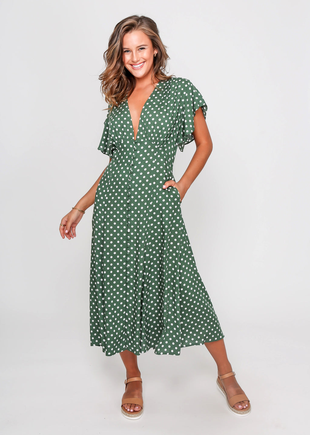 MIRANDA DRESS - GREEN DOT