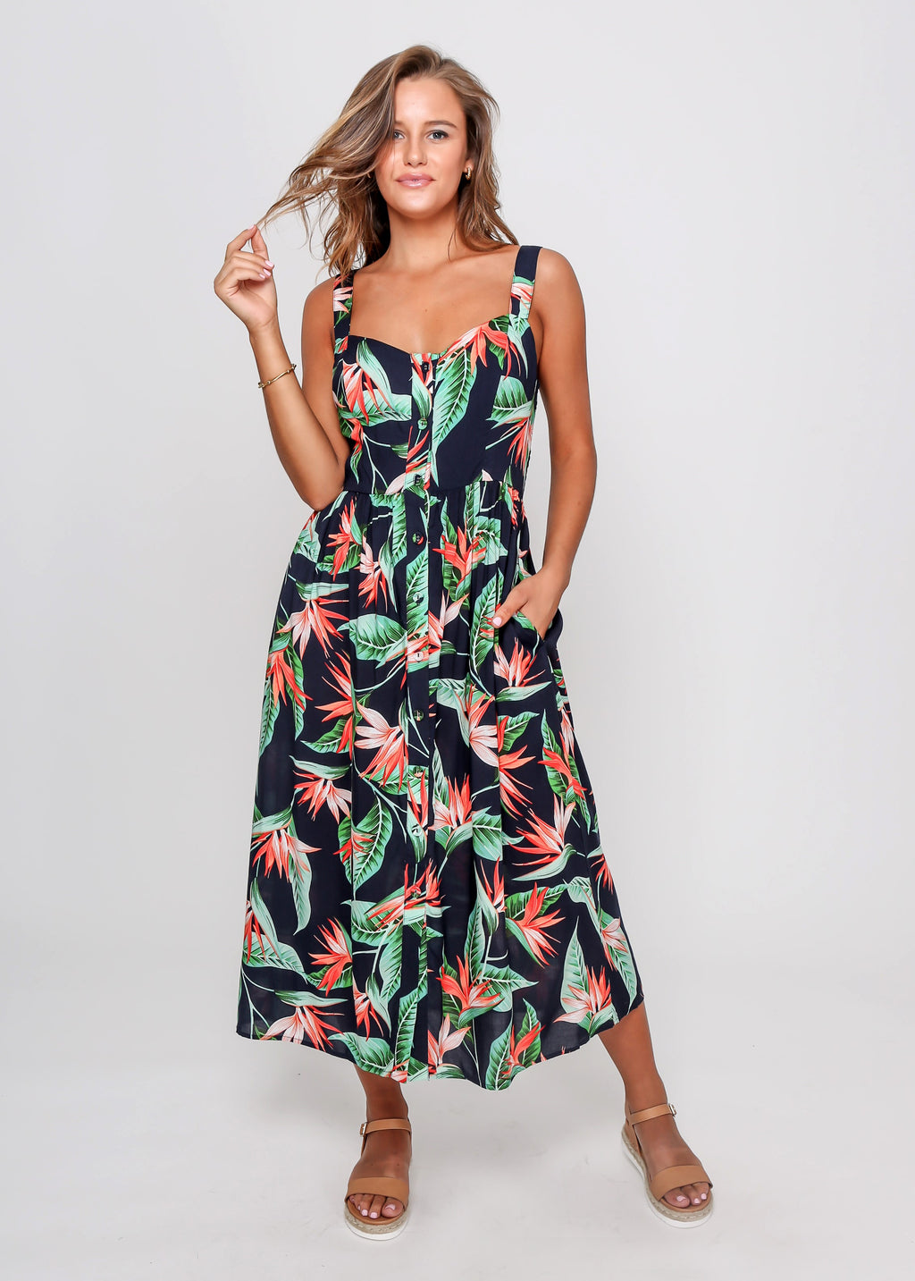 TROPICAL DRESS - NAVY TROPICAL