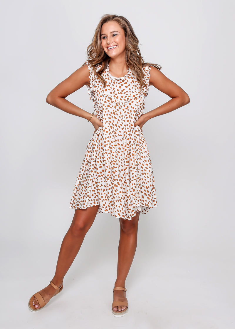 LAYLA DRESS - MUSTARD CHEETAH - LAST STOCK