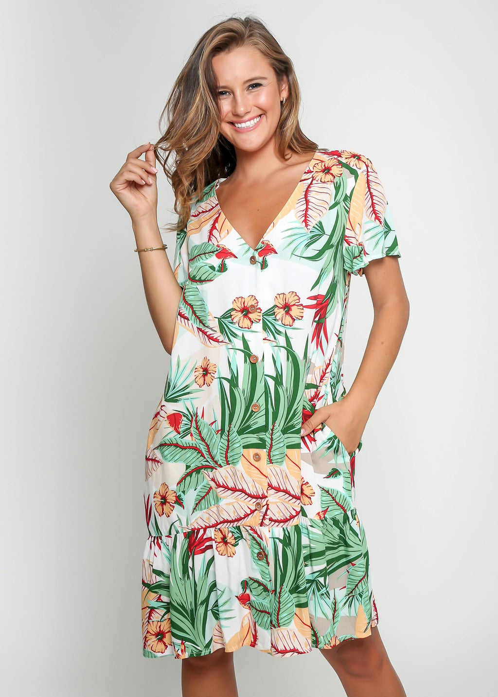 RESORT DRESS - WHITE TROPICAL