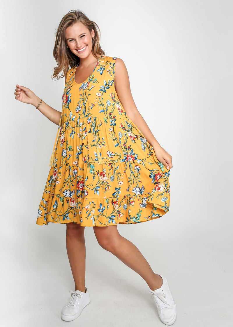 COCO DRESS - YELLOW FLORAL