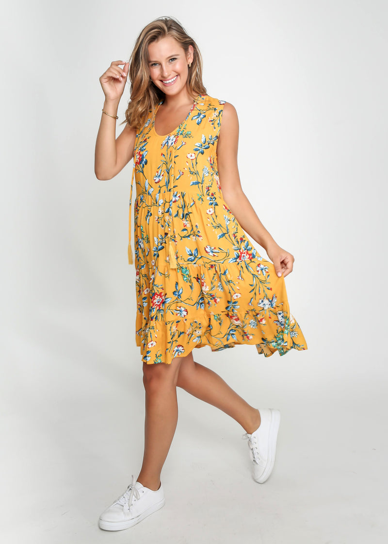 COCO DRESS - YELLOW FLORAL - LAST STOCK