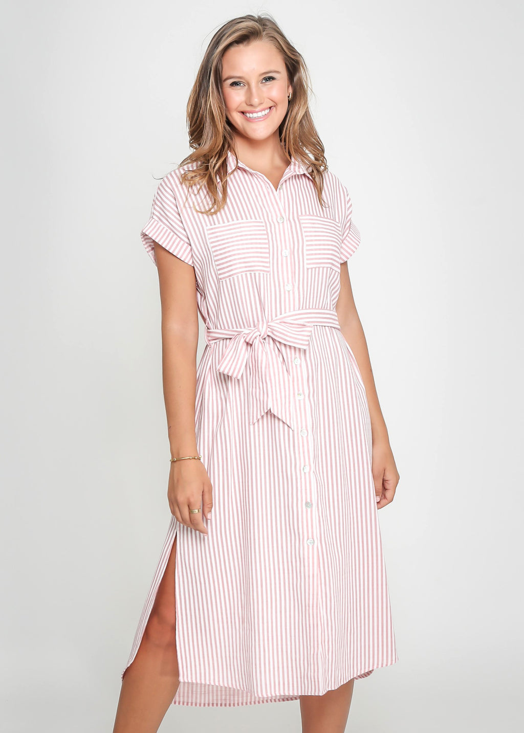 ELLE DRESS - ROSE STRIPE