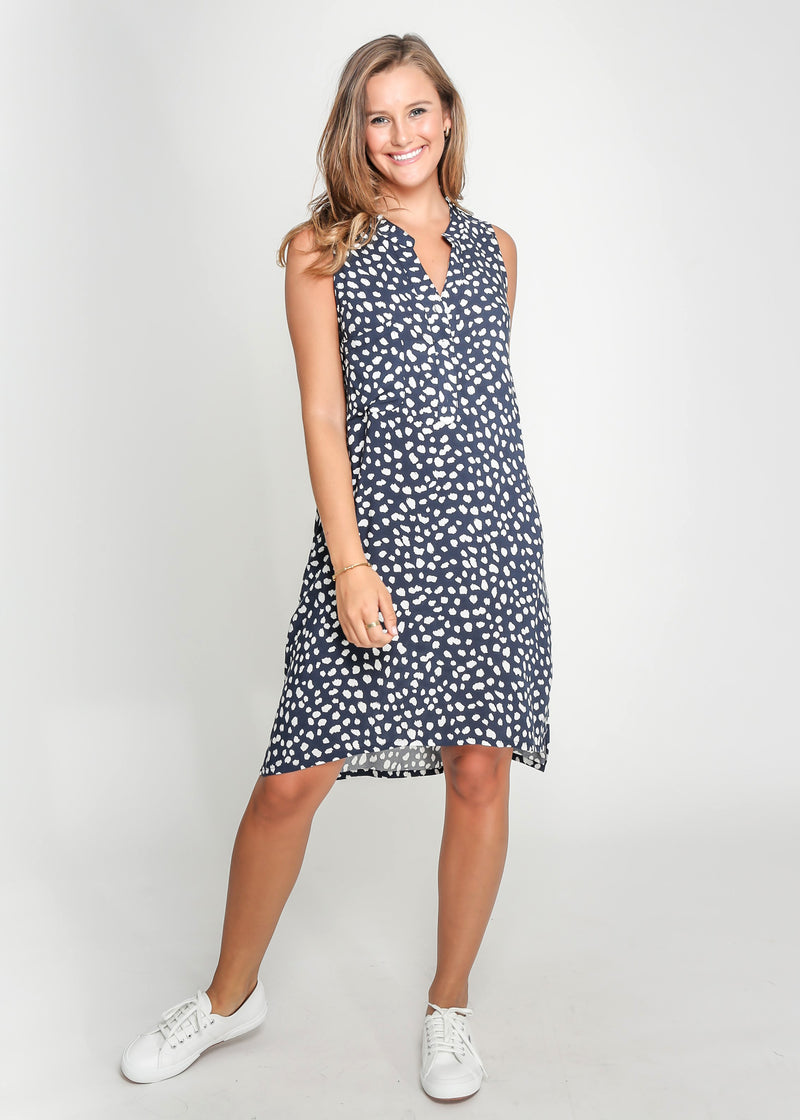 MIA SLEEVE-LESS DRESS - NAVY LEOPARD