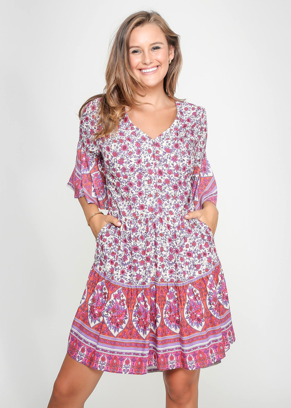 FRANCES DRESS - FUSHIA PRINT