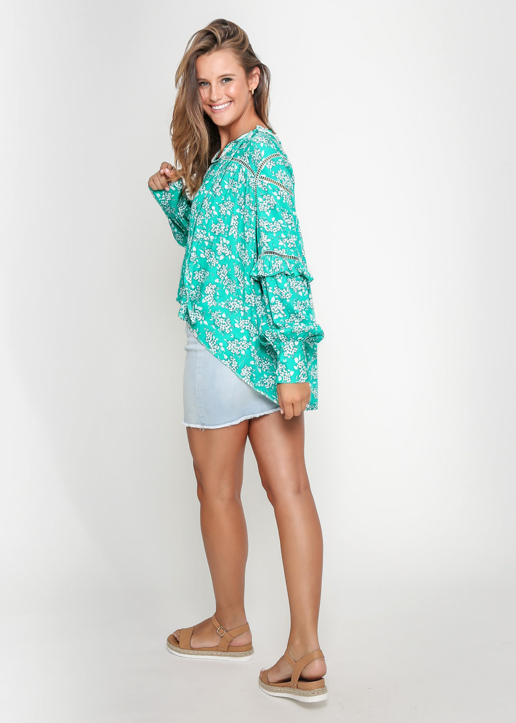 ELIANNA TOP - GREEN FLORAL - MARK DOWN MADNESS