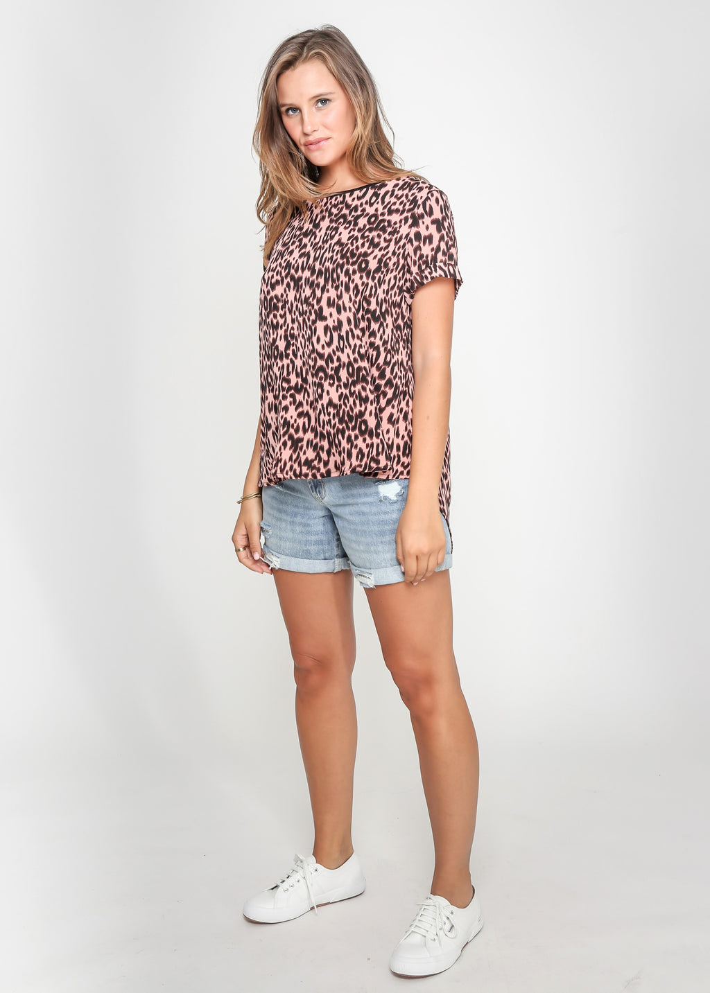 HARLOW TEE - PINK LEOPARD - MARK DOWN MADNESS