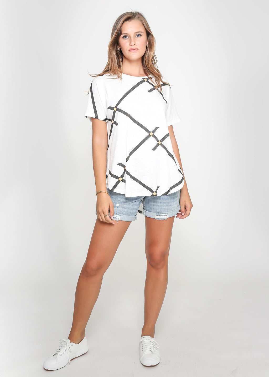AUDREY TEE - WHITE/BLACK